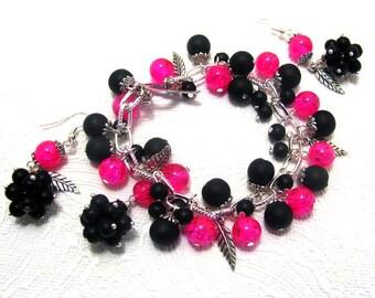 Handmade charm berries bracelet and earring jewelry set/charm/charm bracelet/blackberries/woman bracelet/earrings/vintage style jewelry set