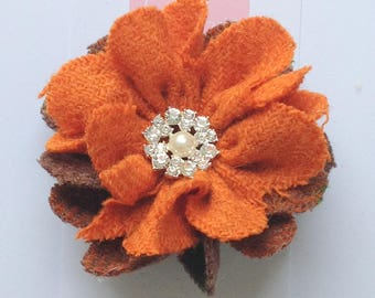 Harris Tweed Brooch, Corsage, Orange Brown Harris Tweed, Scottish Gift, Birthday Gift, Mother's Day Gift, Anniversary Gift, Gift For Her
