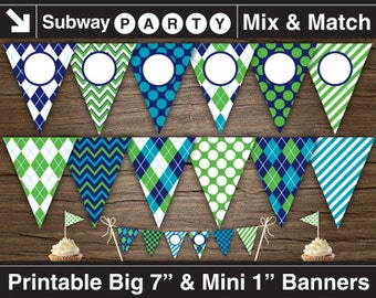 Golf Party Printable Banner & Mini Cake Bunting. Navy, Blue and Green Argyle, Dots, Stripes. DIY Blank Text Editable Banner INSTANT DOWNLOAD