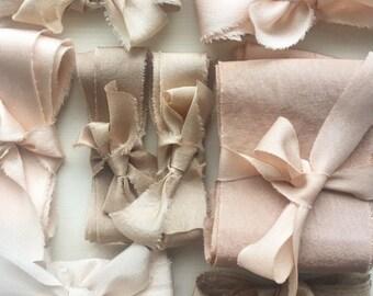 DESIGNER SELECTION - Hand Dyed Habotai Silk Ribbon - Mixed Widths - 6 metres/ 6.5 yards - wedding bouquet, invitations, styling kit, wedding