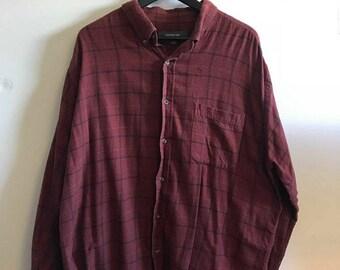 Plaid flannel shirt XL/90s/orange
