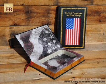 Hollow Book Safe - The US Constitution and Other Writings - Leather Bound