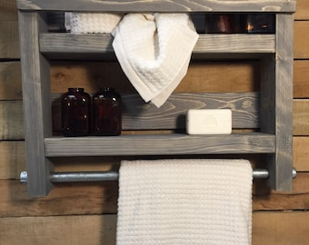 Bathroom Towel Rack, Wood Towel Rack, Bathroom Shelf, Industrial Towel Rack  Decor,