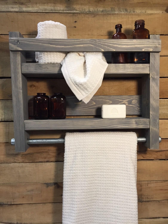 Wood Towel Rack. Bathroom Towel Rack, Wood Shelf, Industrial Rack Decor,  Rustic