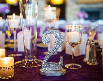Set of 25 - Silver Glitter Wedding Table Numbers