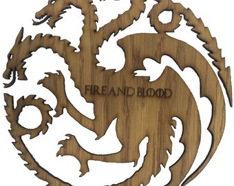 """Game of Thrones Inspired House Targaryen """"Fire and Blood"""" Three Headed Dragon Sigil"""