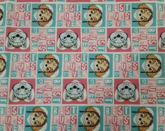 Paw Patrol Fabric- Paw Patrol Pup Power- Best Pups Ever- on Pink Fabric From David Textiles