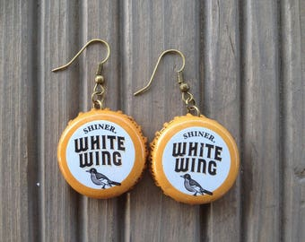 Recycled beer bottle cap earrings