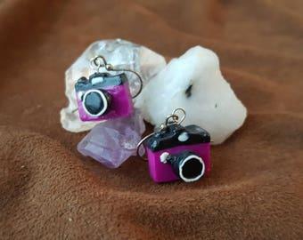 Purple Camera Earrings