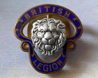 British Legion badge, vintage.  A super badge RG684409, Birmingham Medal Co. also 73595. champleve enamel. 1921.