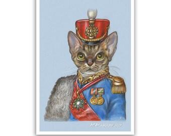 Devon Rex. The Cat Hussar - Cat Art Print - Cats in Clothes, Military Cats - Russian Wall Art - Funny Pet Portraits by Maria Pishvanova