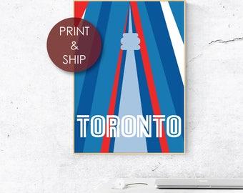 Toronto Poster / Ontario / Retro / Typography / City Print / Print and Ship / Toronto Blue Jays / Skyline / CN Tower / Vintage / The 6ix