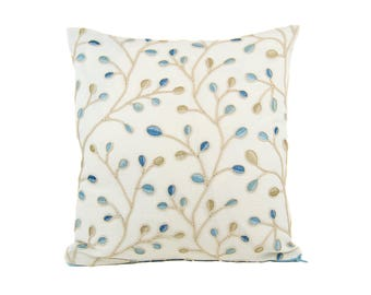 Embroidered Buds Blue and Beige Pillow