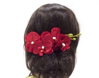 Long Red Orchid Flower Stem Hair Comb Fascinator Headpiece Rockabilly 1950s 3024
