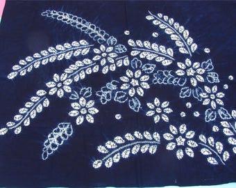 Blue Dyed Fabric, Hand Dyed indigo  Shibori Fabric ,100% cotton fabriic,flower Fabric -150cm*110cm