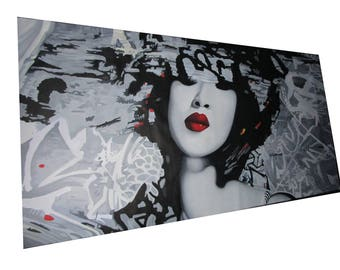 200cm x 100cm Large  Banksy Style signed Japan Geisha Princess  street Art Painting Urban Custom Graffiti Stencil Spray  by Pepe