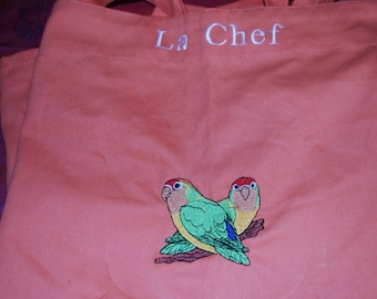 "Apron woman ""chef"" with exotic birds"
