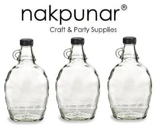 Nakpunar 3 pcs 12 oz Glass Syrup Bottles with Black Tamper Evident Lid