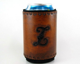 Leather Can Holder Monogram Initial Z Ready to Ship Hand Tooled Beer Holder Leather Insulated Can Cooler Monogrammed Beverage Holder Black Z