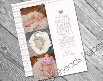 Purple and Pink Little Lady Girl Birth Announcement Collage - set of 25 OR Digital Printable File