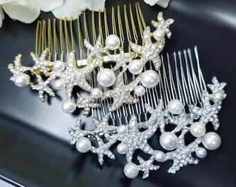 Bridal Starfish Hair Comb, Beach Wedding Headpieces, Mermaid Hair Accessories, Rhinestone Crystal Pearl Comb, Destination Wedding Jewelry