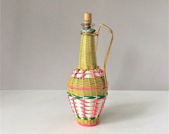 Vintage Vinyl Wrapped Jug, Wine Bottle From Spain, 1960s Decanter With Handle, Bottle With Metal Carrier, Plastic Wicker Lanyard Scoubidou