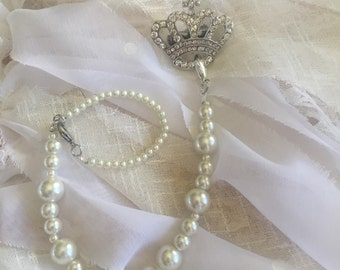 Crystal Crown Pacifier Clip
