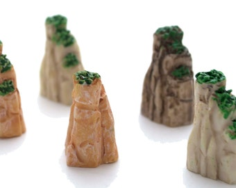5 PC Green Stone Cliff Rock Miniature Garden Plants Terrarium Doll House Ornament Fairy Decoration GS030517