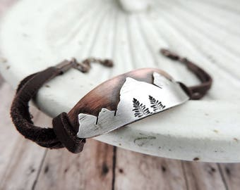 Oval Mountain Bracelet - Metal and Leather Rustic Bracelet - Copper and Silver Mountains - Gift for Hiker - Nature Jewelry - Nature Gift