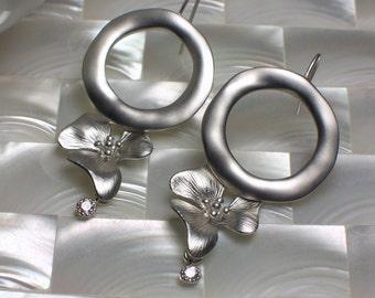 Silver Earrings, Hoop Earrings, Drop Earrings, Floral Jewelry, Jewellery, CZ Jewelry, Cubic Zirconia, Fashion Earrings, Gift for Her, Modern