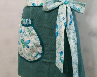 Woman's Turquoise Butterflies Half Apron, Towel Half Apron, Kitchen Apron, Handmade, Gift for Mom, Cooking Serving Apron, USA Made, #23A