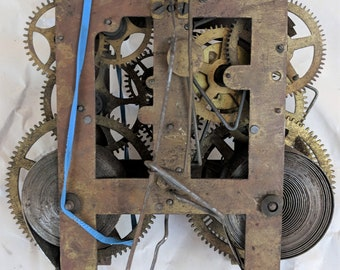 Clock Works, Brass, Old, Full of Gears