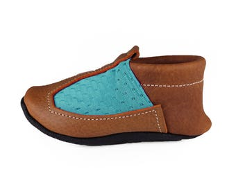Turquoise Mesh Baby Shoes, Moccasins, Moccs
