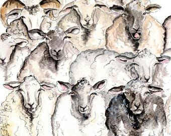 Sheep Print- Illustration Painting - Watercolor Art -6x4 Print set in 8x6 mount- sheep, farm, animal,modern,art, painting,country,