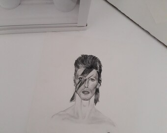 Original portrait drawing of David Bowie Aladdin Sane rockstar 70s seventies art handmade artwork original handmade art