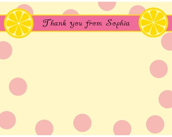 20 Personalized  Sweet Lemonade Thank You Cards