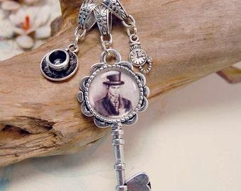 Mad Hatter Charm Necklace Key Charm Alice in Wonderland Art Victorian Gothic