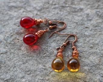 Teardrops earrings, copper wire earrings, glass drop earrings,red dangle earrings,wire wrapped glass drop earrings, copper earrings