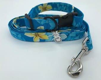 Turquoise Plumeria  Aloha Print Dog and Cat Collar - Made In Hawaii