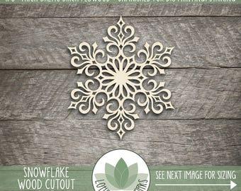 Wood Snowflake Ornament, Holiday Snowflake Decor, Snowflake Christmas Tree Ornament, Laser Cut Wood Snowflake, Holiday Table Decoration