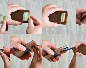 Minimal Pull-Tab Wallets Leather card holder Minimailist wallet clip wallet