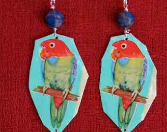 Recycled tin can Parrot earrings with Lapiz lazuli bead and pure silver ear wire