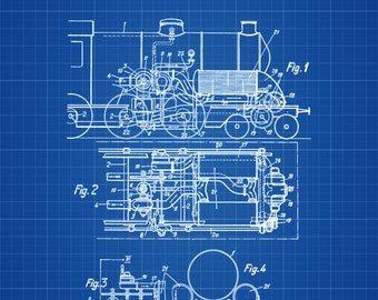 Locomotive blueprint etsy more colors malvernweather Gallery