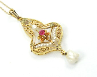 Victorian 10K Yellow Gold Ruby And Seed Pearl Lavalier/Antique Ruby Necklace/Victorian /10K Seed Pearl Lavalier/Ruby And Seed Pearl Necklace