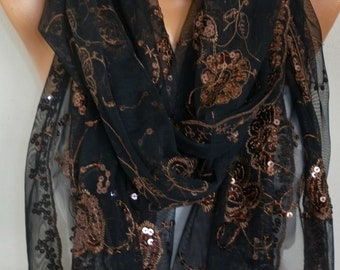 Black & Copper Sequin Tulle Scarf,Church Lace Chapel Veil,Mantilla,Shawl,Bridesmaid gift,Bridal Scarf, Gift for her Women Fashion Accessory