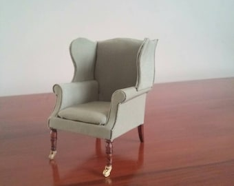 1:12 scaled Wingback Chair