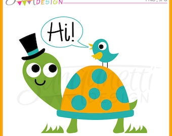 Turtle and Bird clipart, turtle clipart, bird clipart, spring clipart, animal clipart, instant download