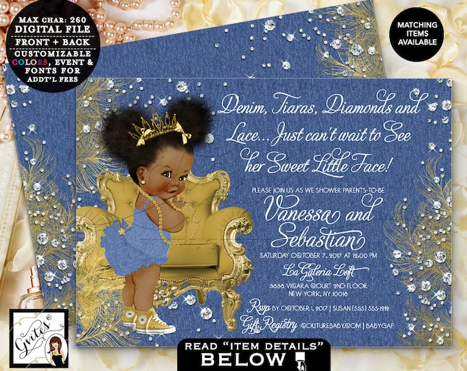 """Denim & Diamonds Baby Shower Gold and denim bows ribbons and pearls, african american girl, digital double sided, Afro Puffs 7x5"""" Gvites"""
