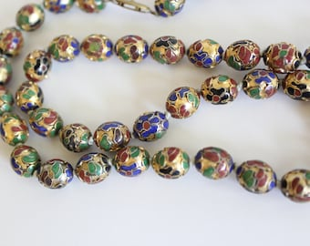 Cloisonné Necklace cloisonne flower beads vintage