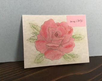 Watercolor, Wife, Mother's Day Card, Handmade
